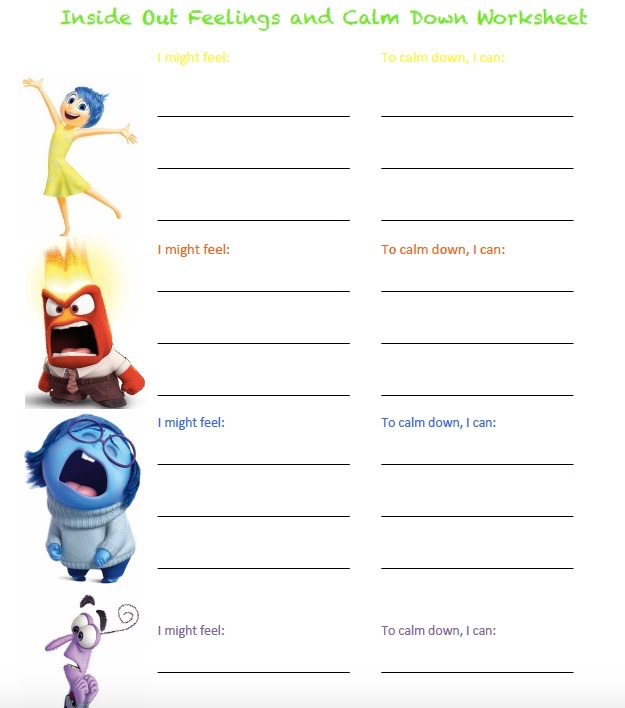 Inside Out Feelings and Calming Strategies Worksheets ...
